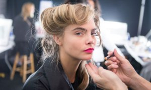 Cara Delevingne backstage at the Diane Von Fürstenberg show.