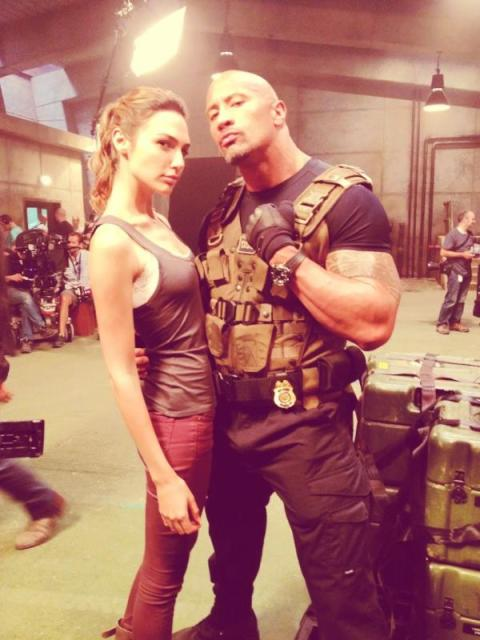 Gal-Gadot-and-Dwayne-Johnson-on-Set-in-Fast-and-Furious-6