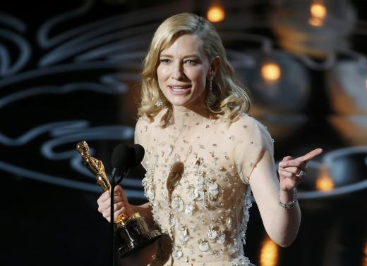 "Blanchett speaks on stage after she won best actress for her work in 'Blue Jasmine"" at the 86th Academy Awards in Hollywood"